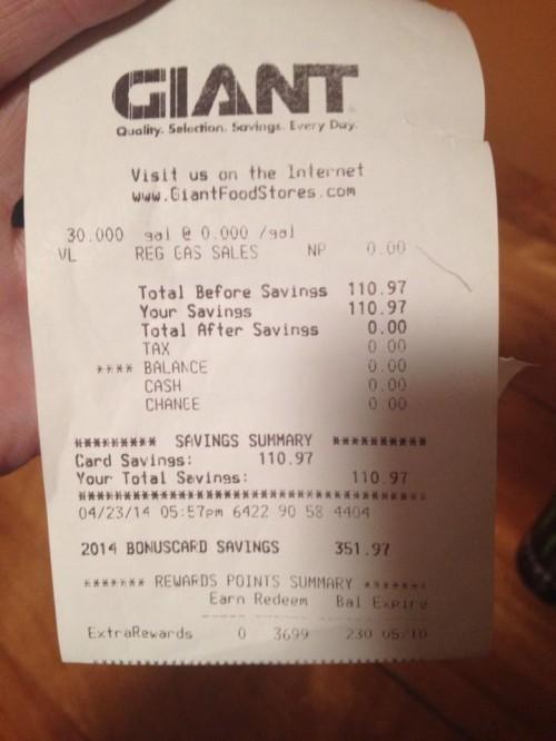 Giant Receipt