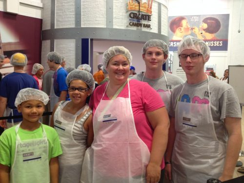 Here we are at Chocolate World getting ready to make our chocolate!